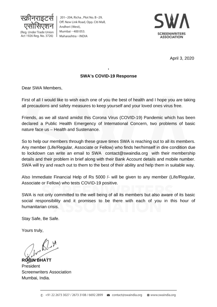 SWA's COVID-19 Response Letter (Eng)